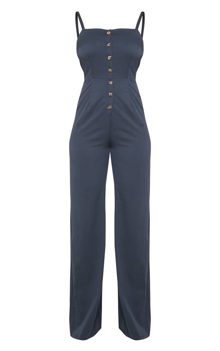 Tall Navy Strappy Button Front Wide Leg Jumpsuit 3