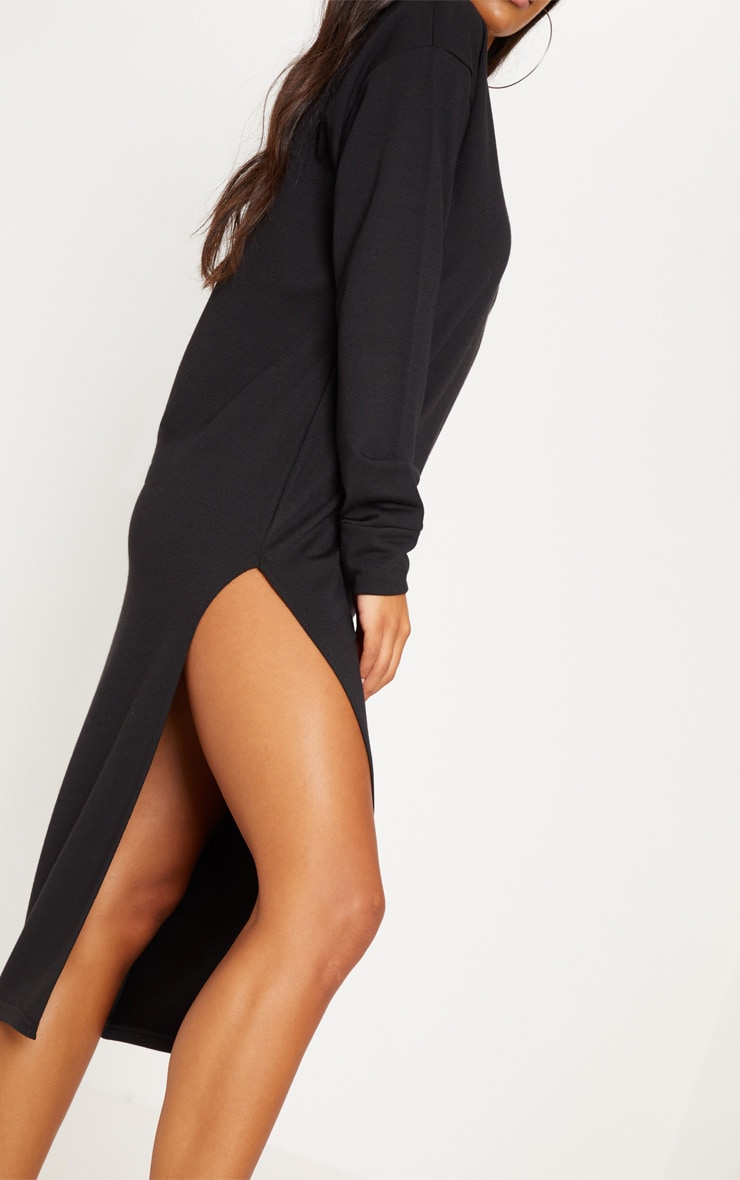 Robe pull mi-longue oversize noire fendue 5