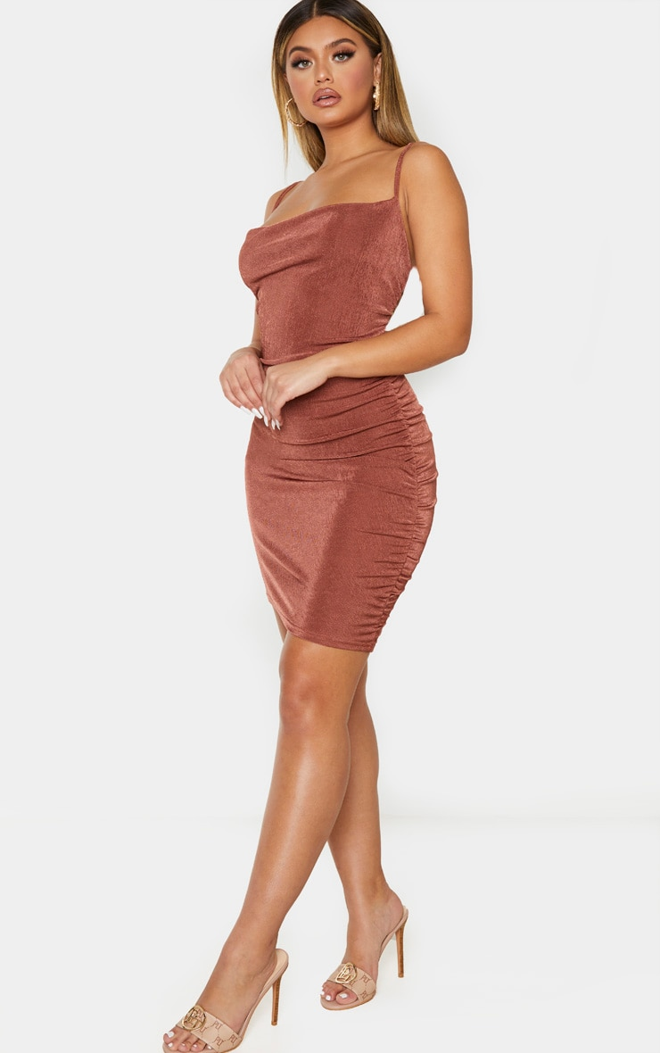Chocolate Brown Textured Slinky Strappy Ruched Bodycon Dress 1