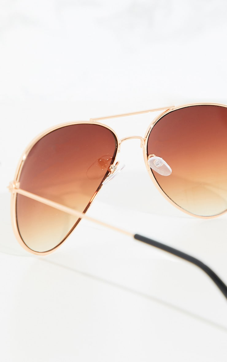 Brown Metal Aviator Sunglasses 3