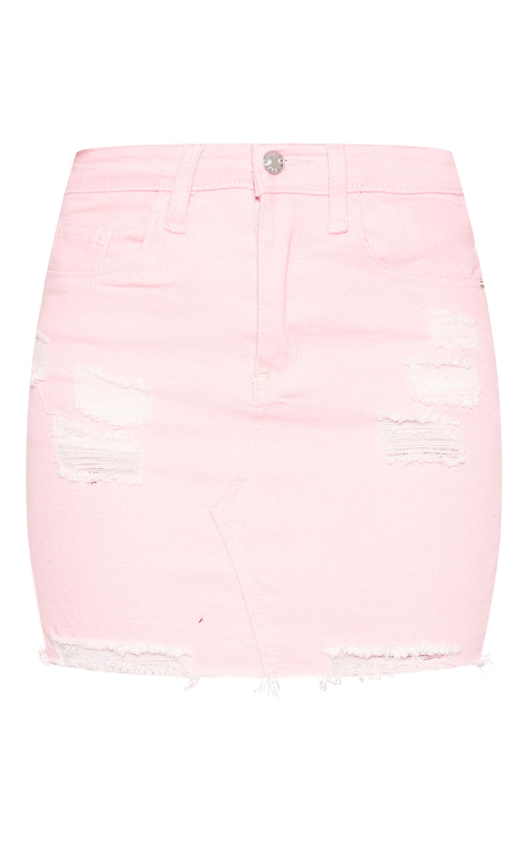 Pink Distressed Denim Stretch Skirt  3
