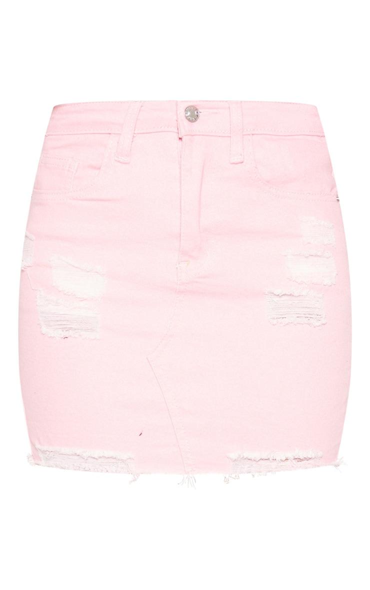 Jupe en jean stretch rose déchiré 3