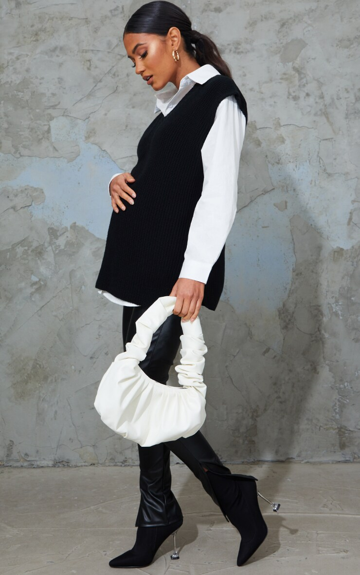 Maternity Black V Neck Knitted Side Split Vest 3