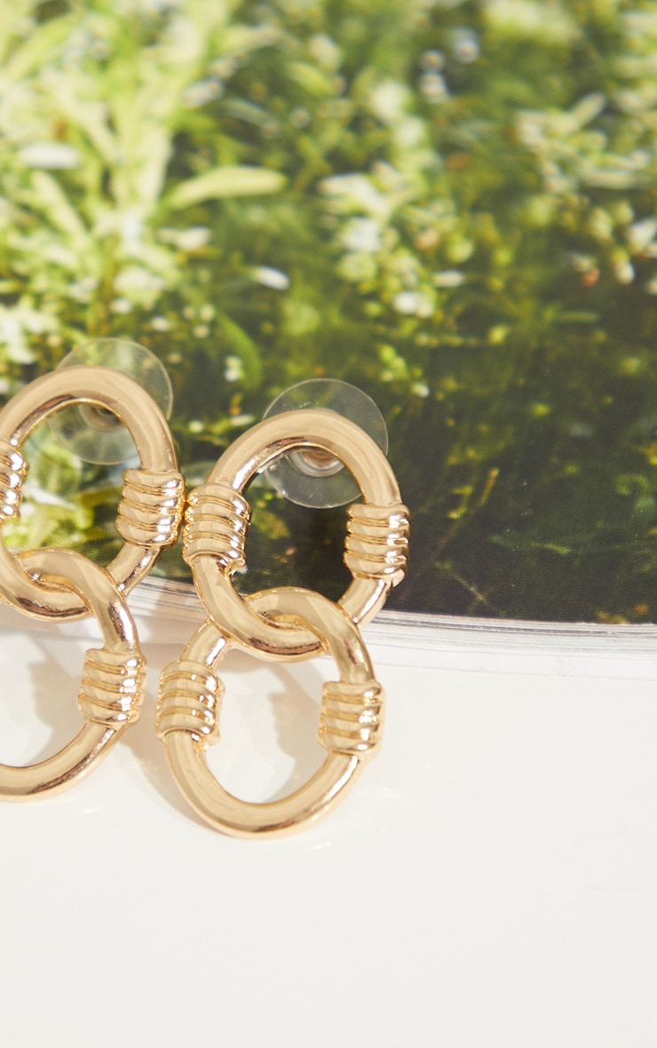 Gold Double Oval Ribbed Detail Hoop Earrings 3