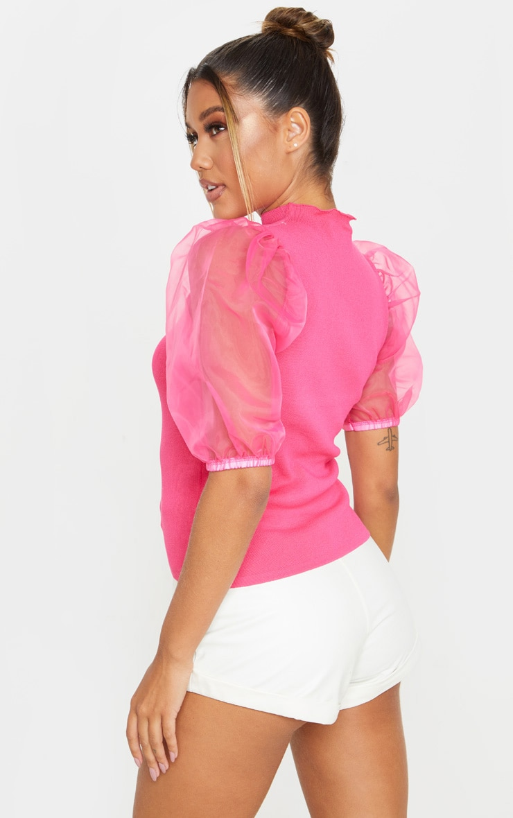 Hot Pink Organza Puff Sleeve Knitted Top 2