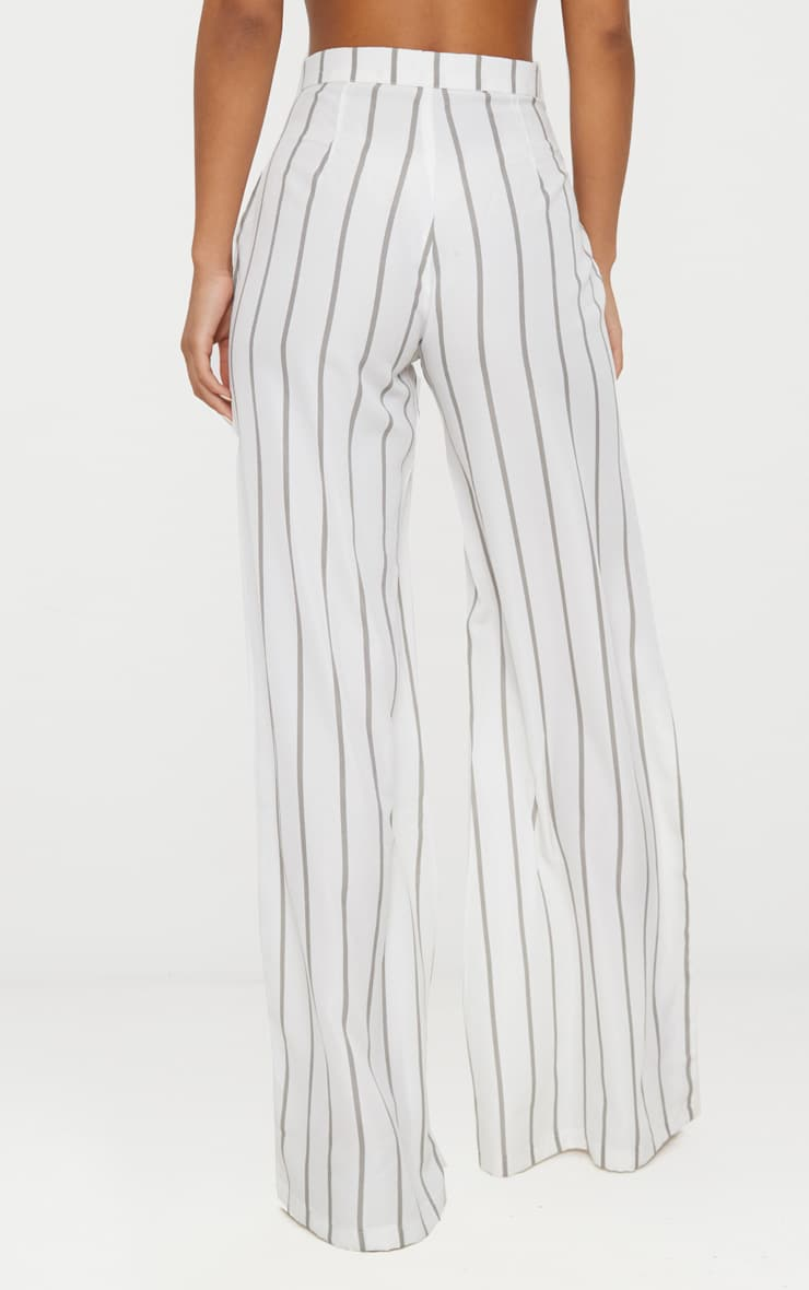 White Striped Wide Leg Trousers 3
