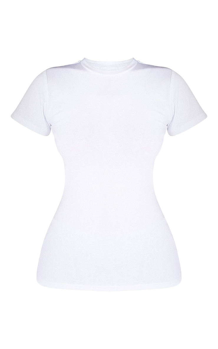 Basic White Cotton Blend Fitted Crew Neck T Shirt 5