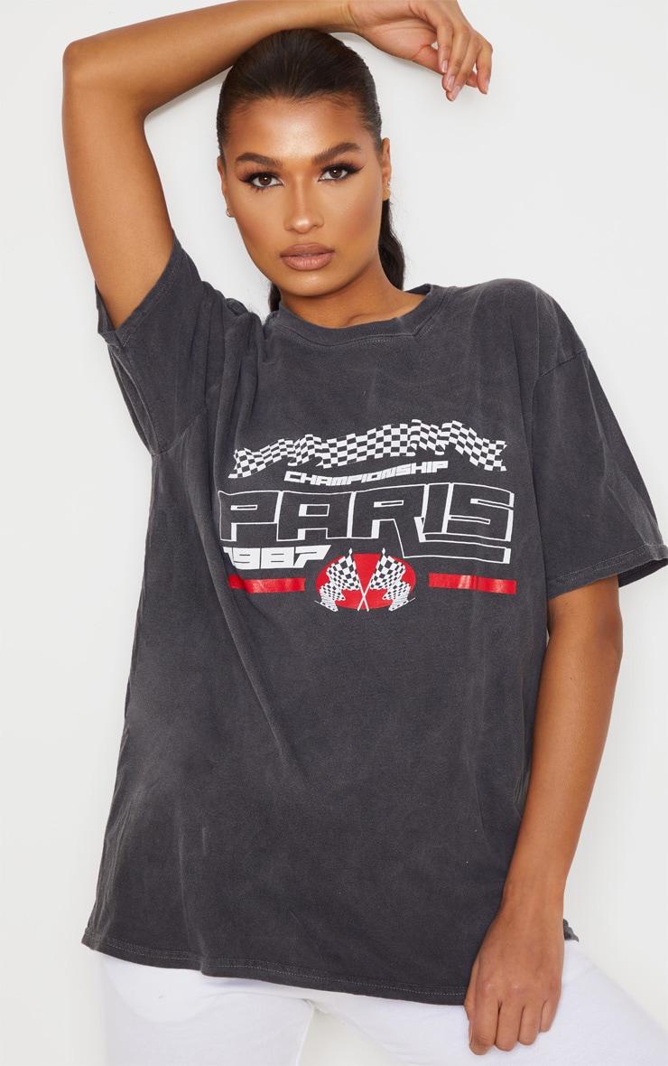 Black Paris 1987 Washed T Shirt 1