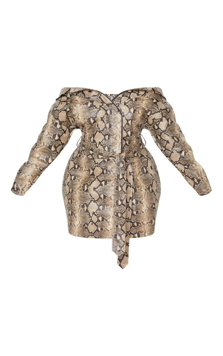 PLT Plus - Robe blazer en similicuir imitation serpent taupe à col bateau 3