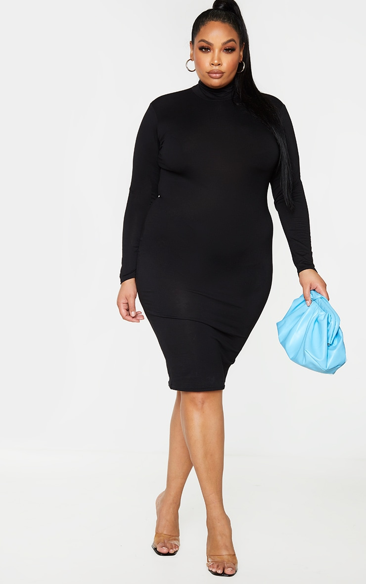 Plus Basic Black Roll Neck Midi Dress 1