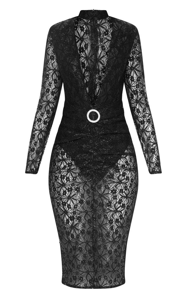 Black Lace High Neck Diamante Buckle Midi Dress 3