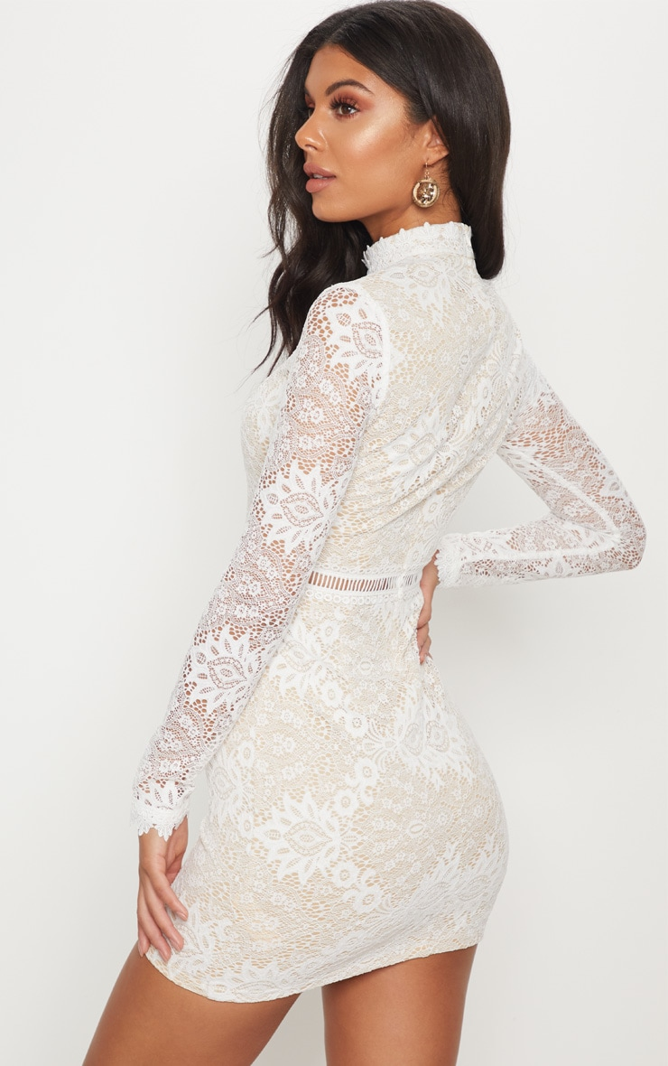 White High Neck Lace Up Bodycon Dress 2