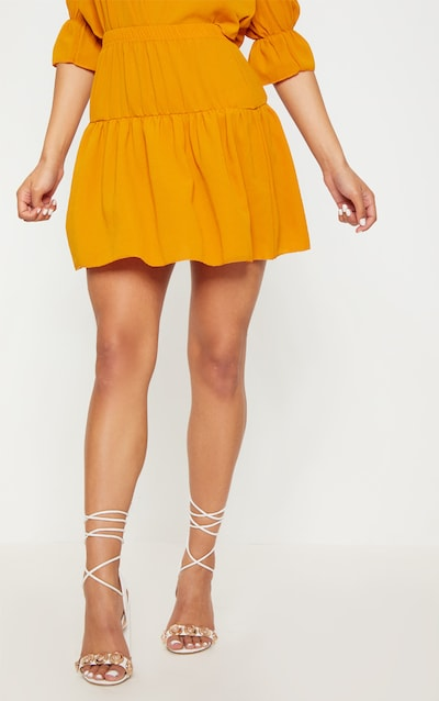 Mustard Chiffon Frill Hem Mini Skirt