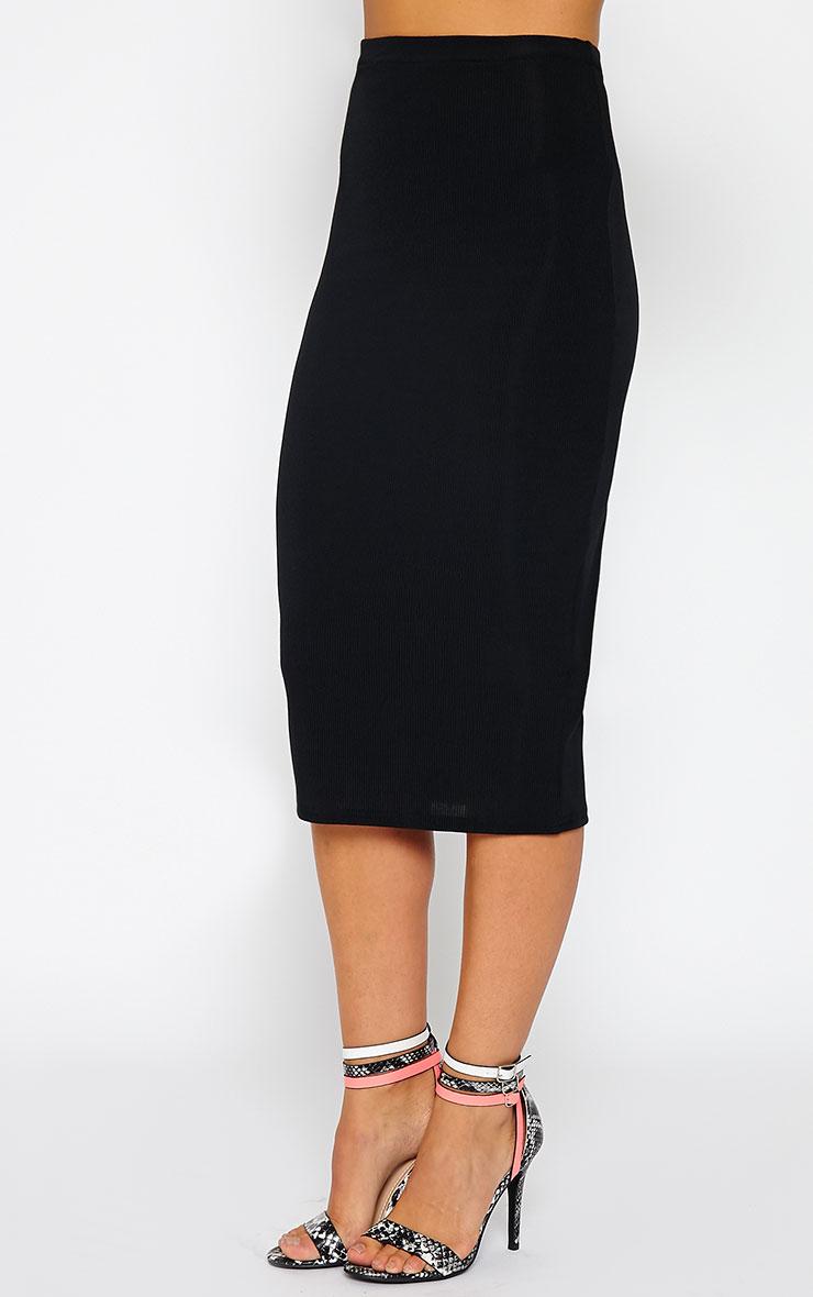 Basic Black Ribbed Midi Skirt 4