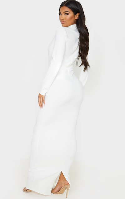 White High Neck Extreme Plunge Maxi Dress