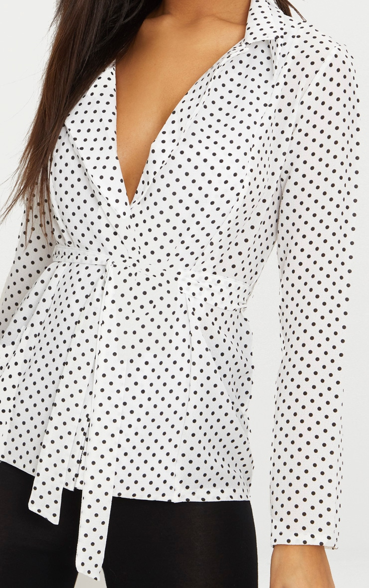 White Polka Dot Belted Top 5