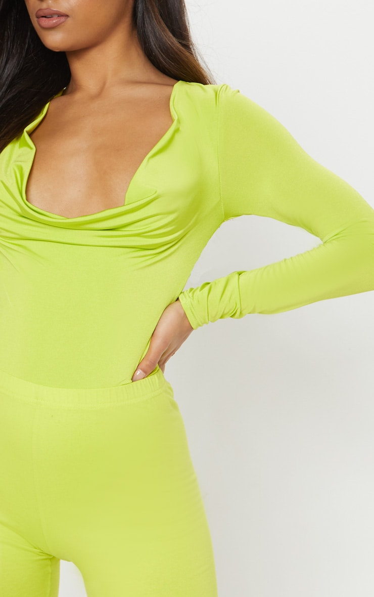 Lime Slinky Cowl Neck Long Sleeve Bodysuit 6
