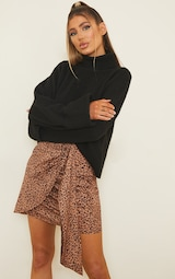 Brown Leopard Print Drape Front Mini Skirt 4