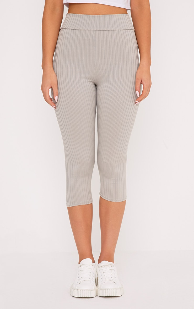 Harlie Grey Cropped Ribbed High Waisted Leggings 2