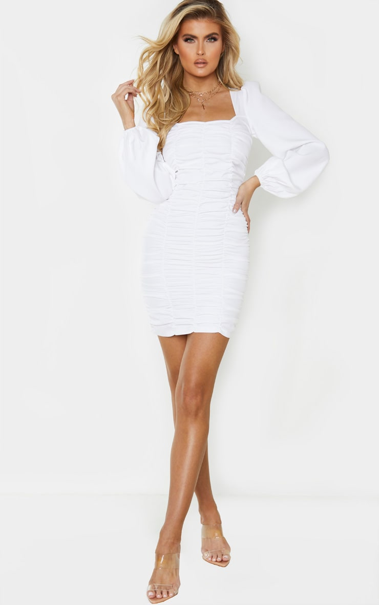 Tall White Ruched Long Sleeve Dress 4