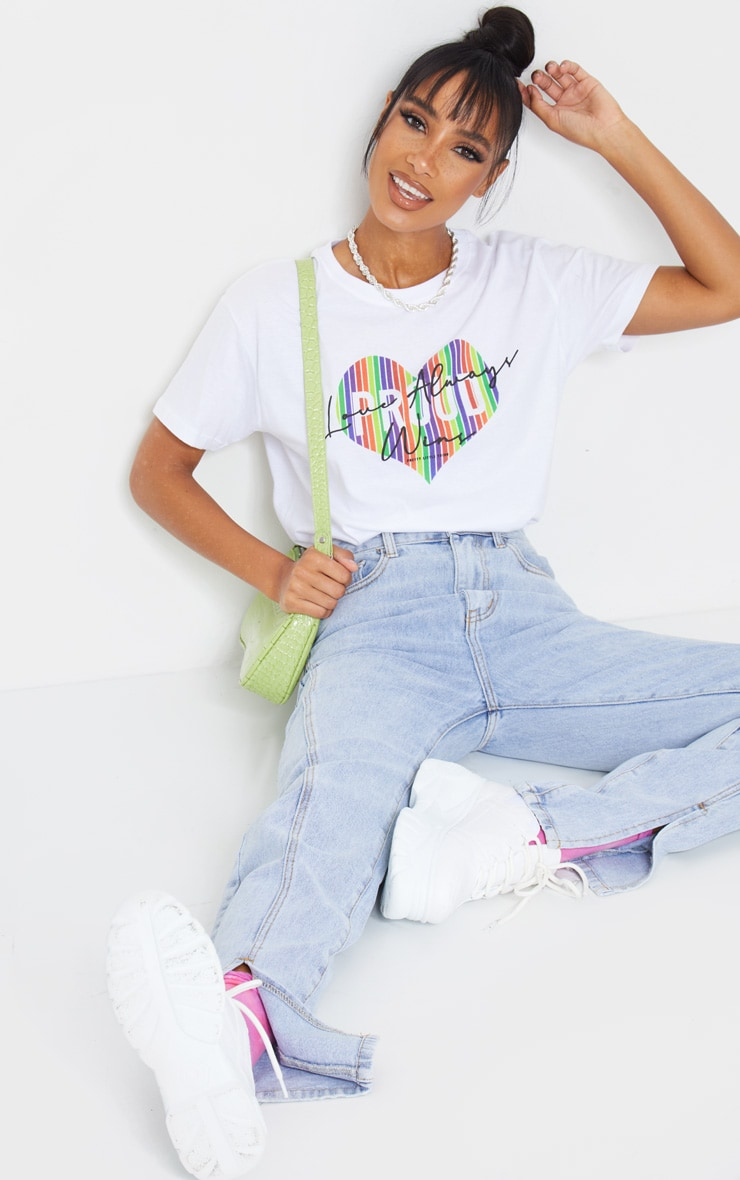 White Slogan Proud Heart T Shirt 3