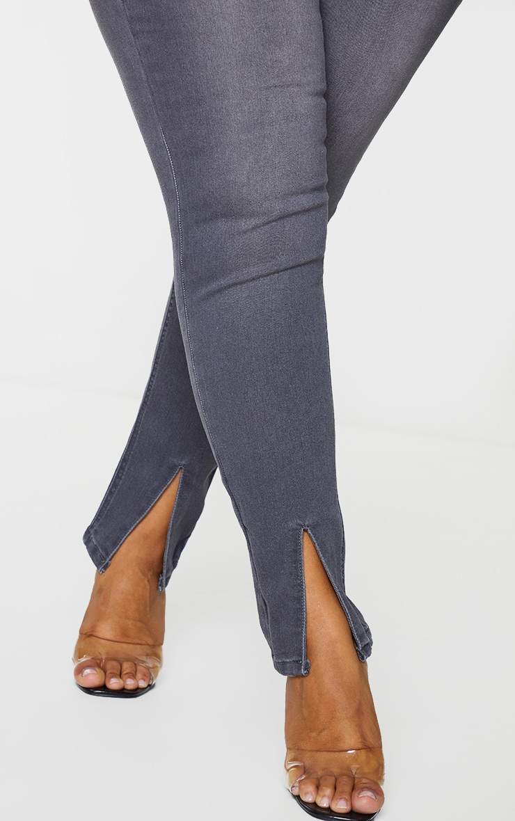 Plus Washed Grey Split Front Skinny Jeans 4