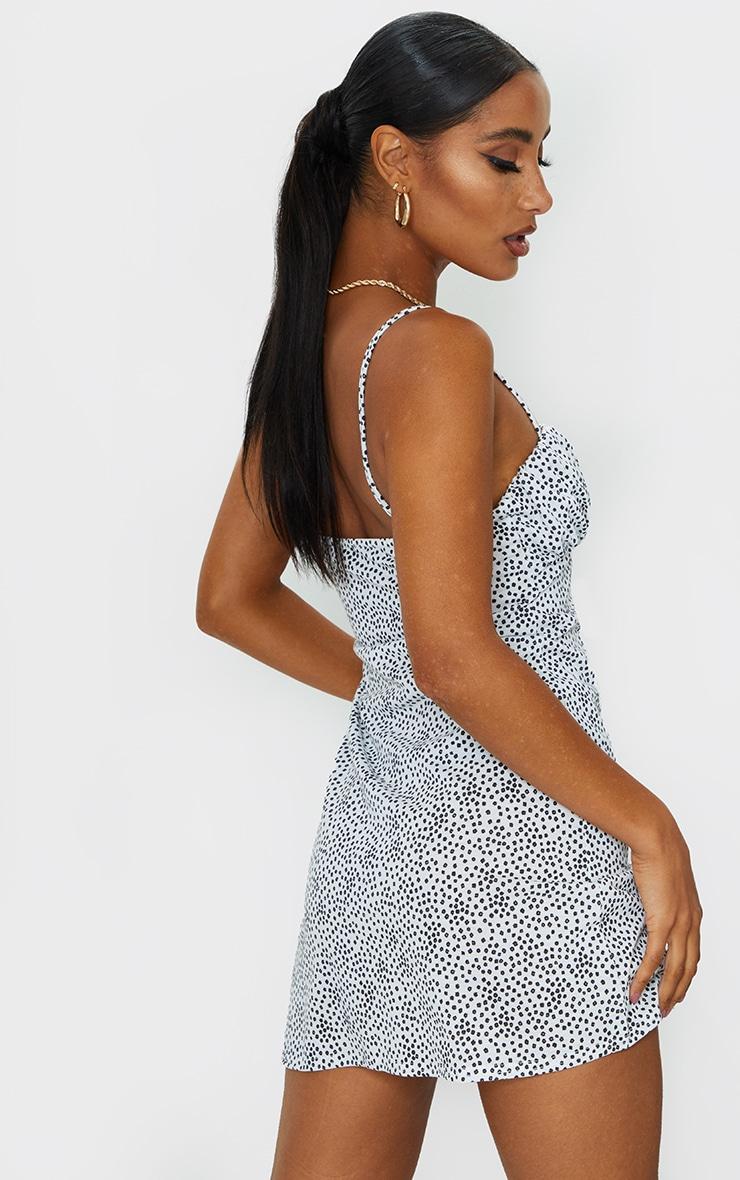 White Dalmatian Print Ruched Bust Shift Dress 2