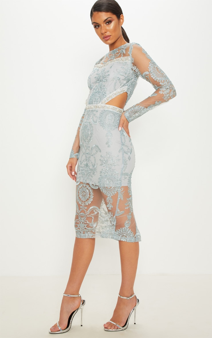 Grey Embroidered Lace Embellishment Detail Cut Out Midi Dress 4