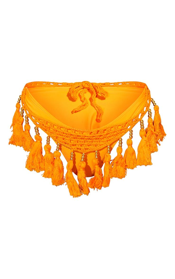 Orange Crochet Tassel Knit Bikini Bottoms 5