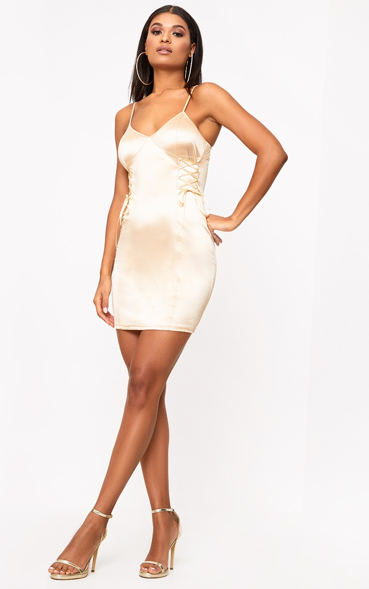 Champagne Stretch Satin Lace Up Bodycon Dress 4