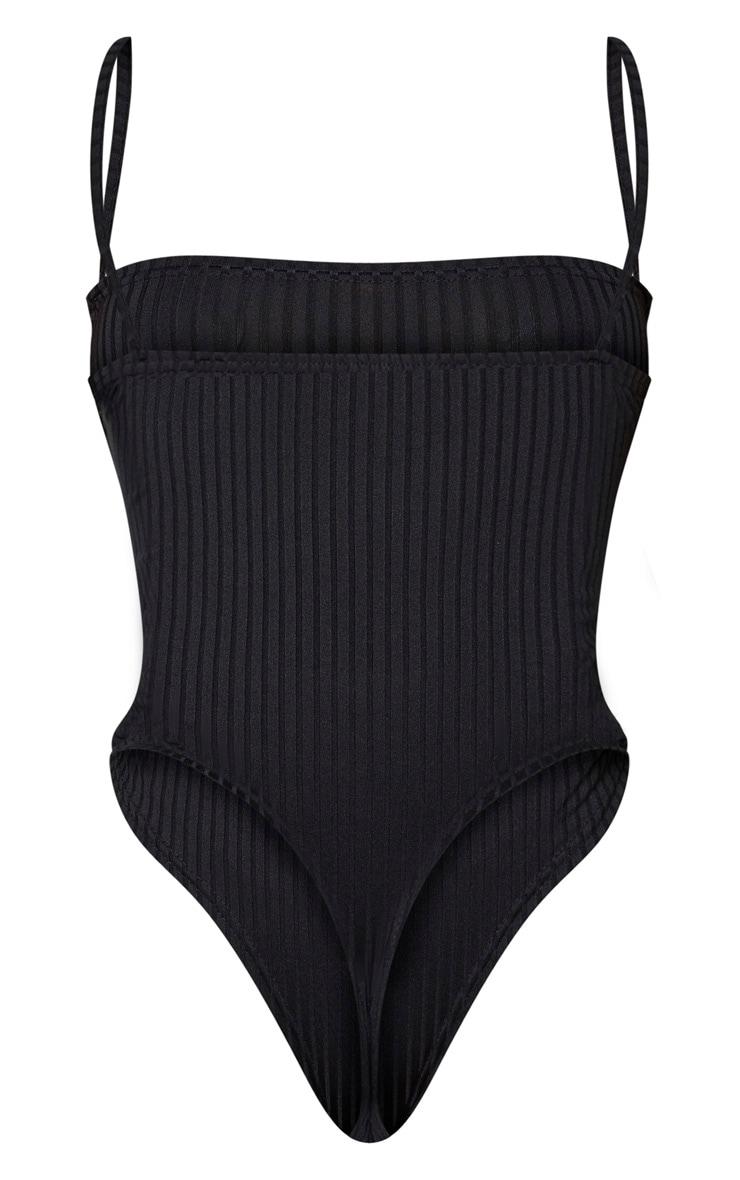 Shape - Body côtelé noir à bretelles et détail buste 6