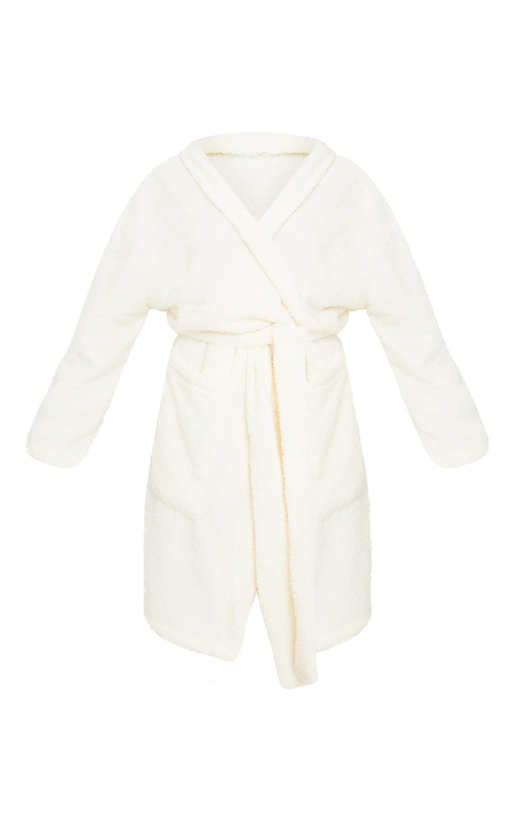 White Oversized Fluffy Dressing Gown 5