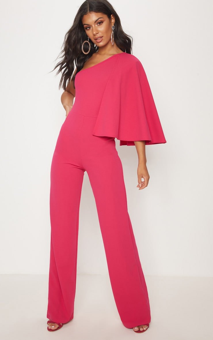 Fuchsia One Shoulder Cape Jumpsuit
