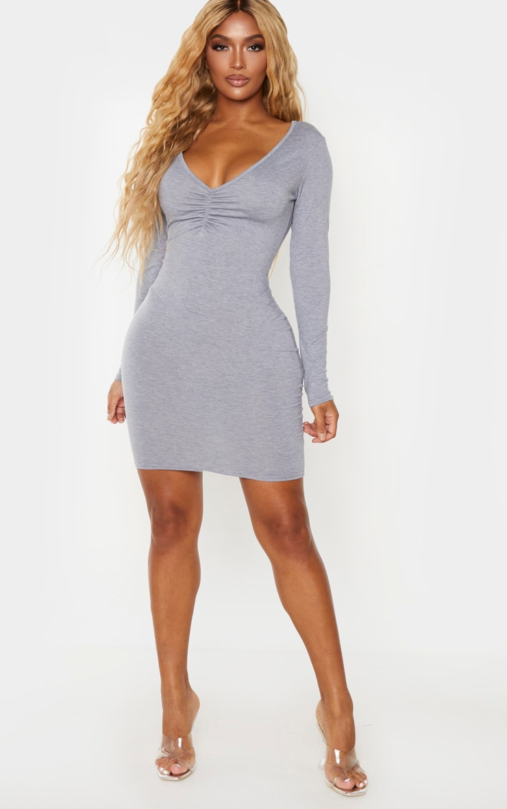 Shape Grey Jersey Ruched Front Long Sleeve Bodycon Dress 3