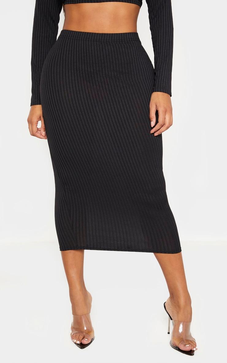 Shape - Jupe taille haute mi-longue noire côtelée  2