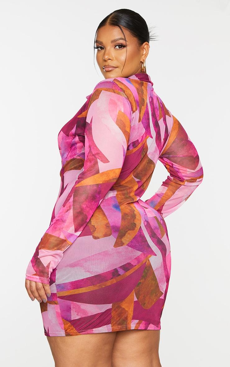 Plus Pink Abstract Mesh Button Down Shirt Dress 2