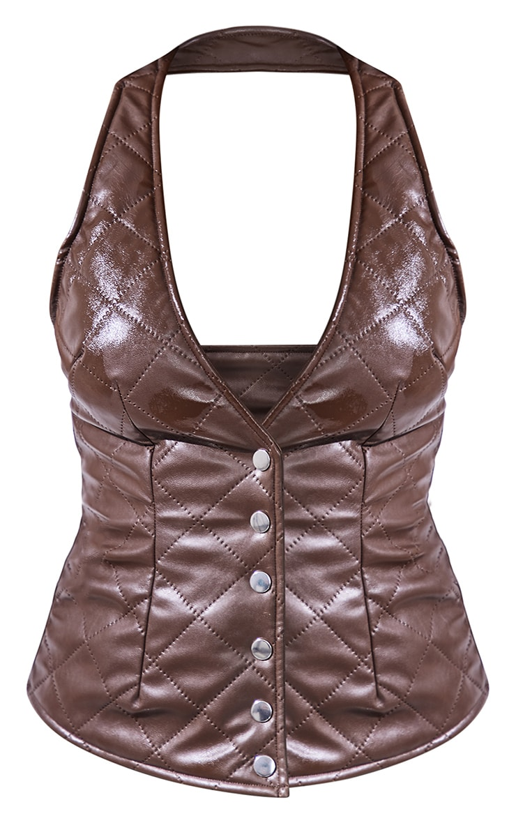 Chocolate Brown Quilted Faux Leather Halterneck Waistcoat 5