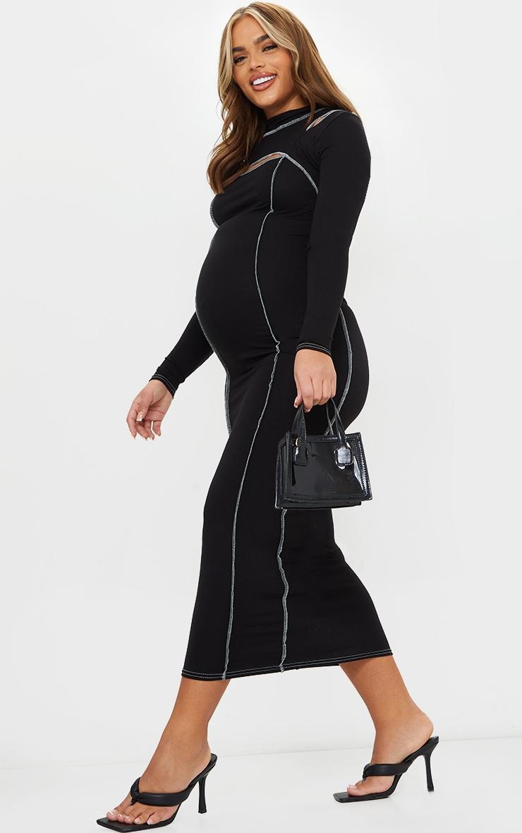 Maternity Black Cut Out Midi Dress 3