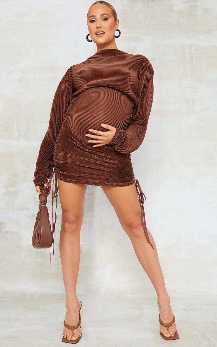 Maternity Chocolate Plisse Bodycon Mini Dress 1