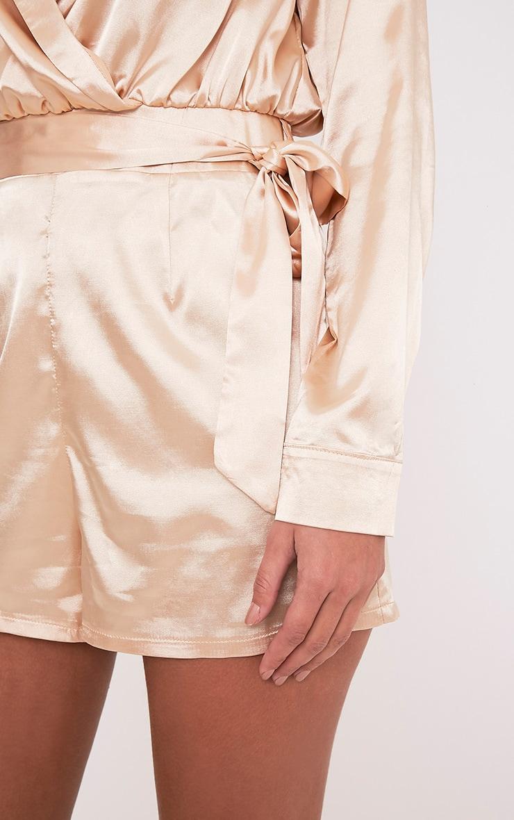 70d0b5249ef Amlie Champagne Satin Wrap Shirt Playsuit - Jumpsuits   Playsuits ...