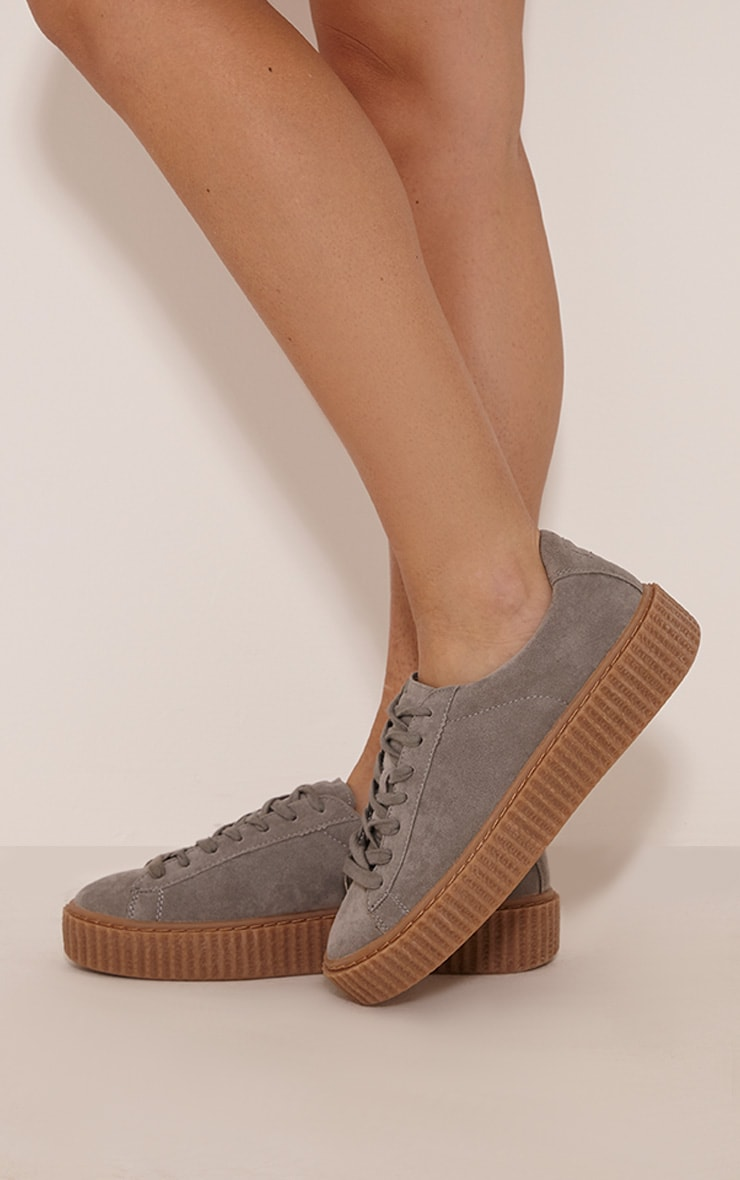 Cia Grey Faux Suede Creeper Trainers 4