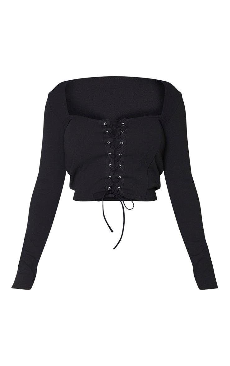 Shape Black Lace Up Long Sleeve Crop Top 5