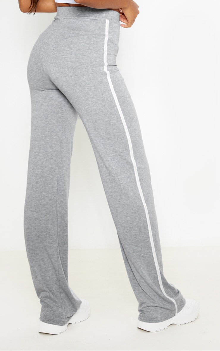 Grey With White Jersey Side Stripe Wide Leg Trouser 4