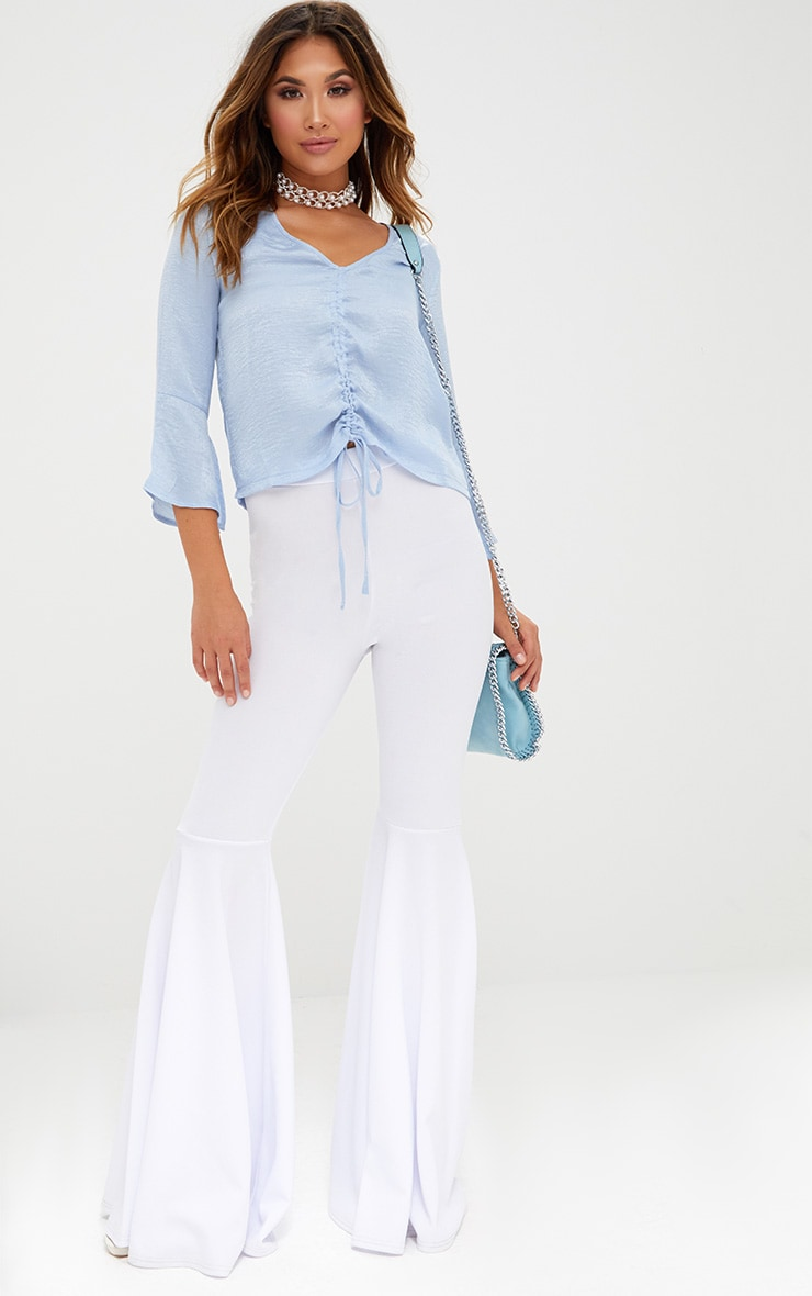 Pale Blue Ruched Front Frill Sleeve Silk Top  4
