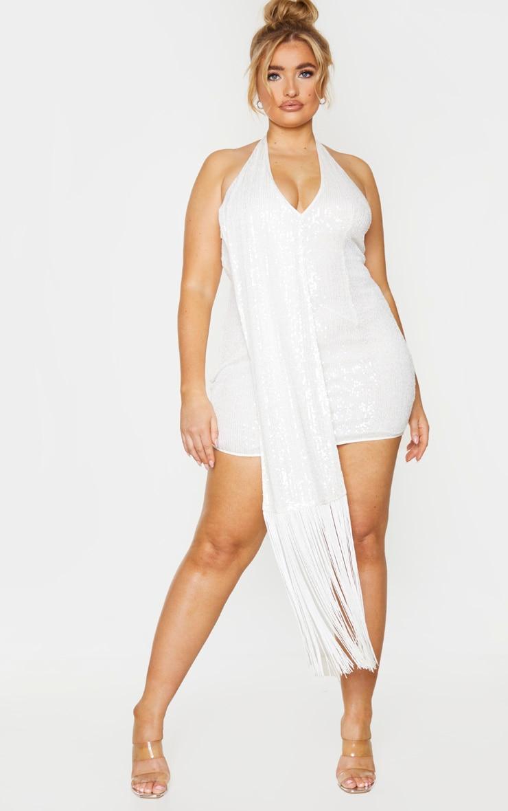 Plus Cream Sequin Halterneck Drape Bodycon Dress 1