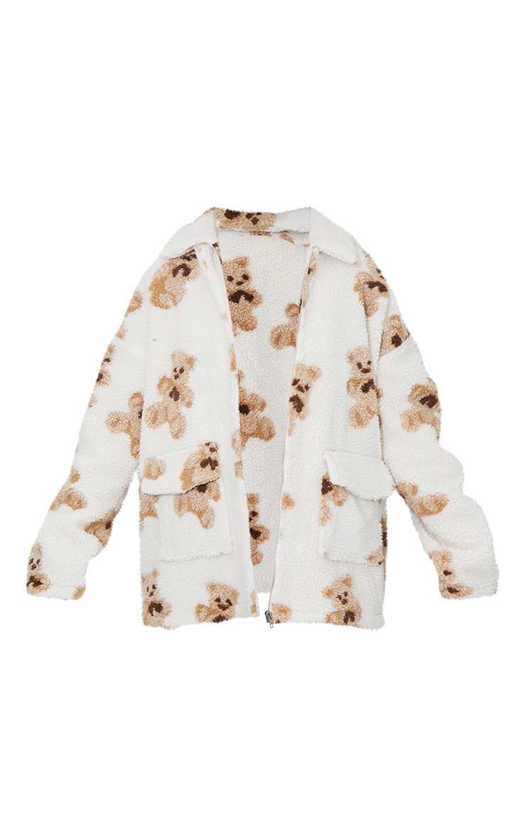 Beige Teddy Printed Pocket Front Jacket 5