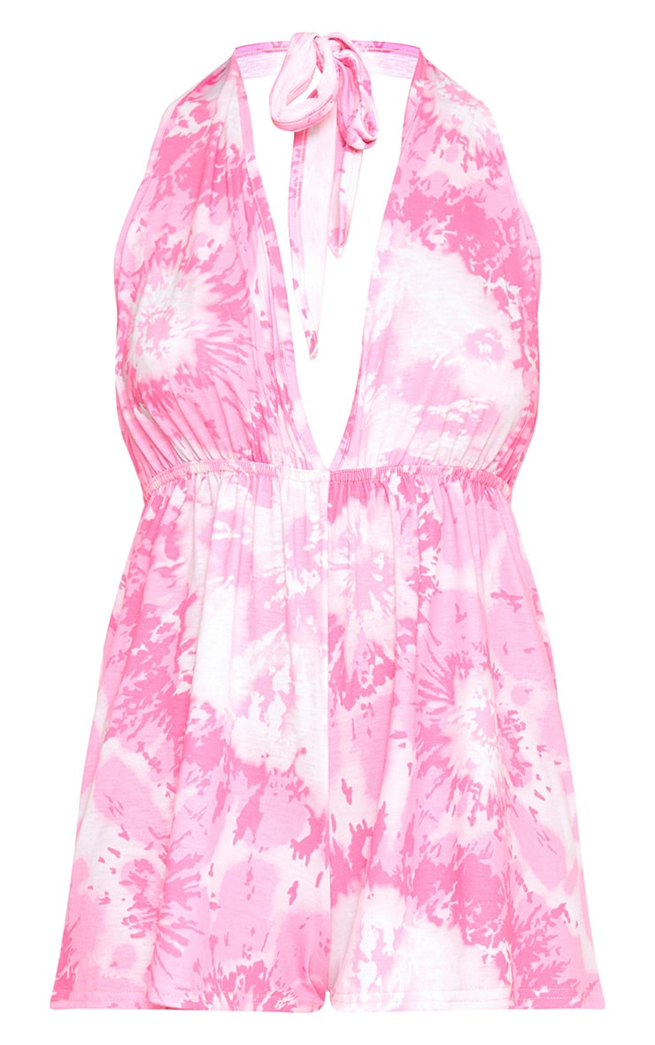 Pink Tie Dye Halterneck Playsuit  3