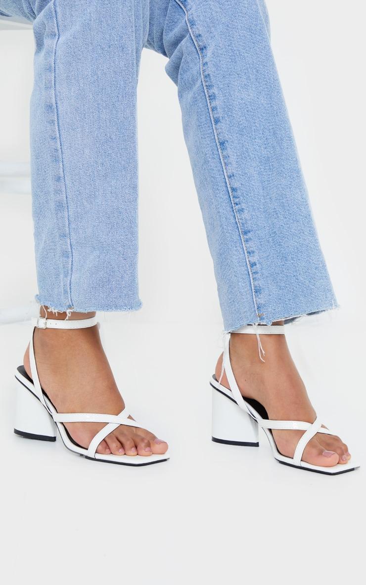 White Tear Drop Block Heel Square Toe Cross Strappy Sandals 2