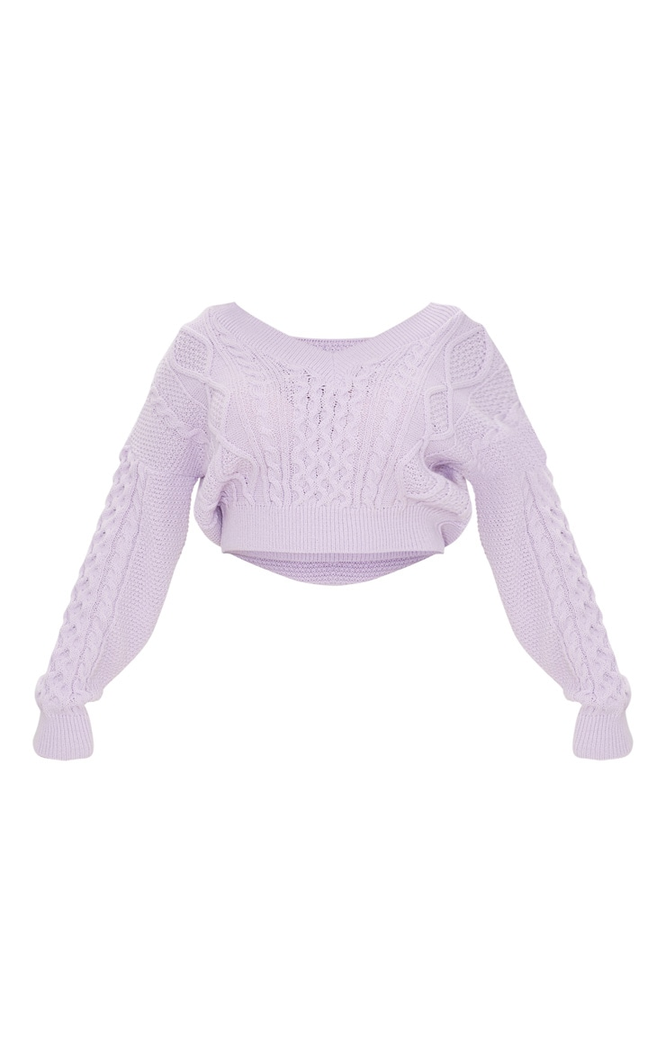 Lilac Cable Knit V Neck Crop Sweater 5