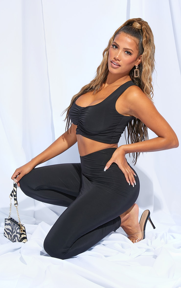 Shape Black Slinky Ruched Front Sleeveless Crop Top 3